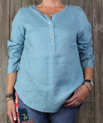 New Soft Surroundings Blouse M sz Light Blue Womens Top Spakle Casual Shirt 79$