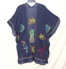 Cute New Soft Surroundings Tropical Toper Navy Blue One Size Womens Parrots