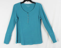 Nice Soft Surroundings Blue Ribbed Henley Top M L - Jamies Closet - 3
