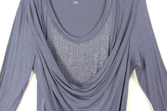Nice Soft Surrounding L XL sz Blouse Blue Ruched Beaded Stretch Womens Soft Drape Top