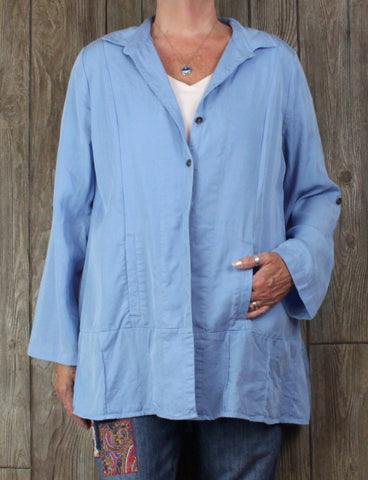 Nice Soft Surroundings Tencel Shirt Jacket XL size Blue Button Front