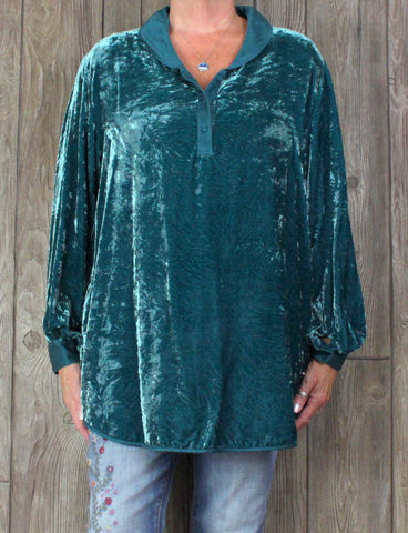 Pretty Soft Surroundings Blouse XL Size Teal Blue Crushed Velvet