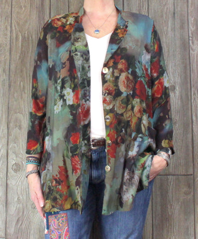 Pretty Soft Surrounding XL size Blouse Blue Multi Color Floral Shirt Jacket