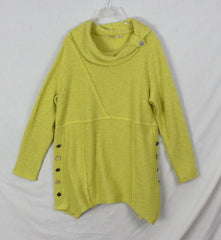 New Soft Surroundings XL size Sweater Lime Green Yellow Tunic Top
