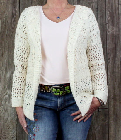 Cute Soft Surrounding L petite LP size Cardigan Sweater Ivory Crochet
