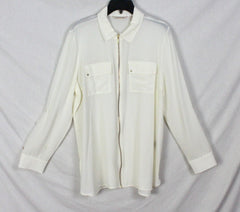 Nice Soft Surroundings XL size Blouse Ivory Zip Front