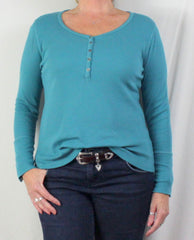 Nice Soft Surroundings Blue Ribbed Henley Top M L - Jamies Closet - 1