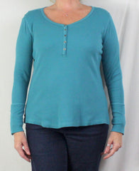 Nice Soft Surroundings Blue Ribbed Henley Top M L - Jamies Closet - 2
