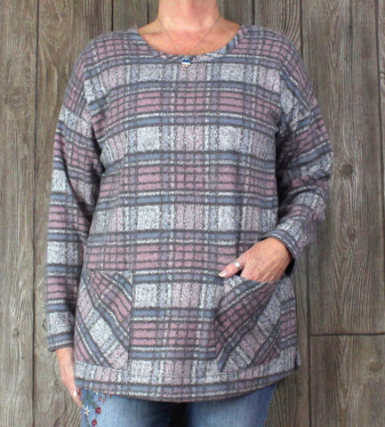 Soft Surroundings L sz Tunic Top Gray Pink Plaid Soft Stretch Fabric