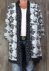 Pretty Soft Surroundings L XL Size Shirt Jacket Black White Open Front