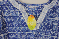 Cute Soho Chic New Blouse L sz Blue White Embroidered Tunic Top Boho Hippy Vacation