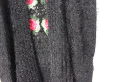 Adorable SoHo Chick M size Sweater Vest Black Fuzzy Rose Crochet Accent Open Front Boho - Jamies Closet - 3