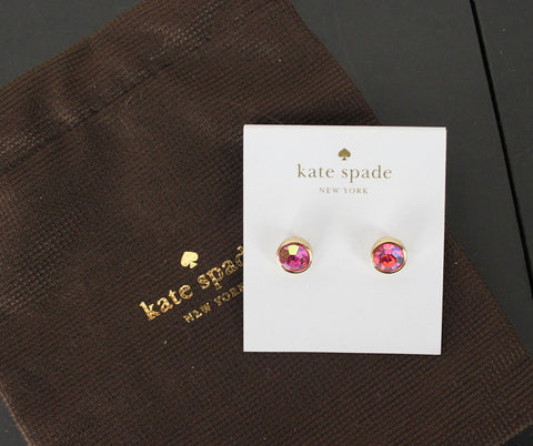 New Kate Spade Post Earring Pink Aurora borealis and Gold color