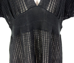 Cute Anthropologie Sparrow Top M L size Black Deep Vneck Sheer Knit in Check Pattern - Jamies Closet - 4