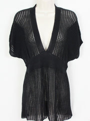 Cute Anthropologie Sparrow Top M L size Black Deep Vneck Sheer Knit in Check Pattern - Jamies Closet - 3