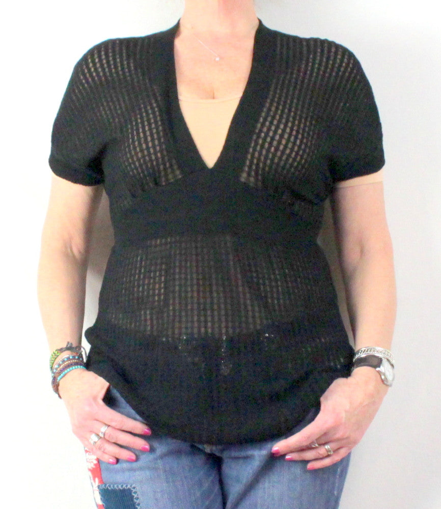 Cute Anthropologie Sparrow Top M L size Black Deep Vneck Sheer Knit in Check Pattern - Jamies Closet - 1