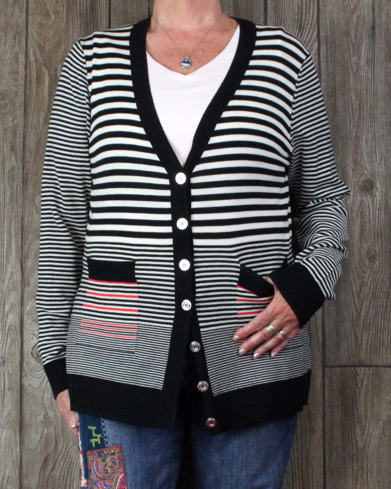 Nice St John Cardigan Sweater L size Black White Red Womens Lightweight Wool