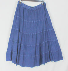 Cute Studio West XL size Skirt Denim Blue Tiered Prairie Elastic Waist Hippy Boho