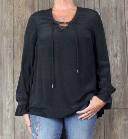 New Sundance Catalog Poet Top M size Black Lightweight