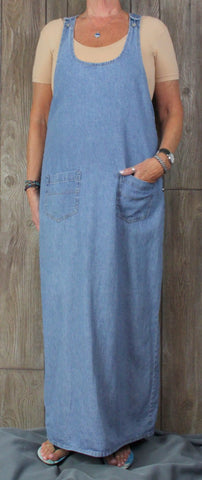 Cute Sundance Catalog L size Denim Dress Light Blue Cotton Overall Style Maxi