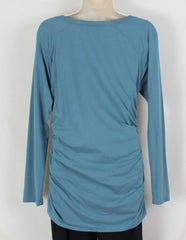 Cute Sundance Catalog Brand M L size Blue Vneck Ruched Side Top, Cotton Blend with Stretch - Jamies Closet - 6