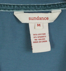 Cute Sundance Catalog Brand M L size Blue Vneck Ruched Side Top, Cotton Blend with Stretch - Jamies Closet - 7