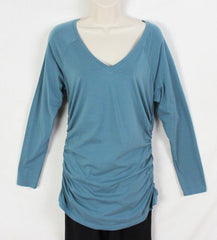 Cute Sundance Catalog Brand M L size Blue Vneck Ruched Side Top, Cotton Blend with Stretch - Jamies Closet - 3
