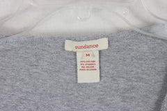 Cute Sundance Catalog Ruched Top M size Gray Stretch And Fitted