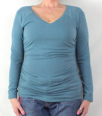 Cute Sundance Catalog Brand M L size Blue Vneck Ruched Side Top, Cotton Blend with Stretch - Jamies Closet - 2