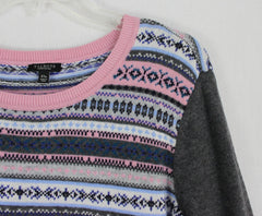 Soft Talbots 2x Petite 2xp size Sweater Gray Pink Floral
