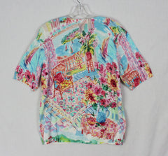 New Talbots L size Short Sleeve Top Blue Pink Multi Color Vibrant Pretty Womens