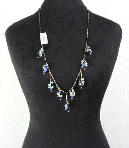 Pretty New Talbots necklace.  Blue bead and crystal cluster on a gold color chain.  36 inches end to end.