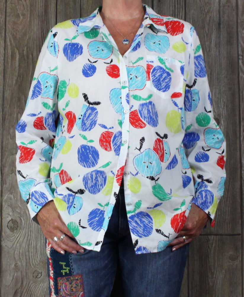 Cute Talbots Blouse XL size White Multi Colored Apples