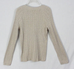 New Talbots Cardigan Sweater L size Beige Cable Stretch Cotton Womens