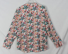 Cute Talbots L size Blouse Orange Blue Birds Leaves Womens Soft Top