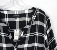 Cute New Talbots Blouse 1x size Black Gray Plaid Soft Flannel