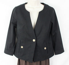 Nice Talbots New Jacket 6 S size Short Button Front Canvas Gold Button Womens Grace Fit - Jamies Closet - 1