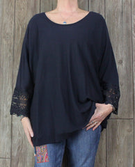 New Talbots Blouse 3x size Dark Blue Womens Stretch Top Lace Cuff Plus Shirt $99