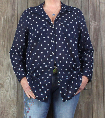 Talbots 1x size Blouse Navy Blue White Dot Lightweight Womens Top