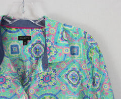 Nice Talbots XL sz Blouse Blue Pink Green Floral Cotton Top