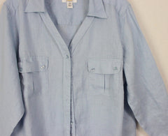 Cute Talbots 16w 1x size Blue Linen Blouse Womens Lightweight