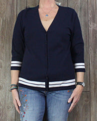 New Talbots Outlet L size Cardigan Sweater Top Navy Blue White