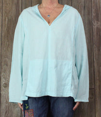 Cute Talbots Blouse XL size Light Blue Irish Linen Top Womens Hooded