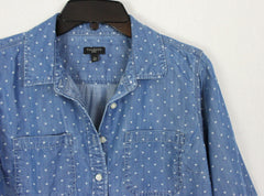 Cute Talbots Blouse L Petite LP size Denim Blue Hearts