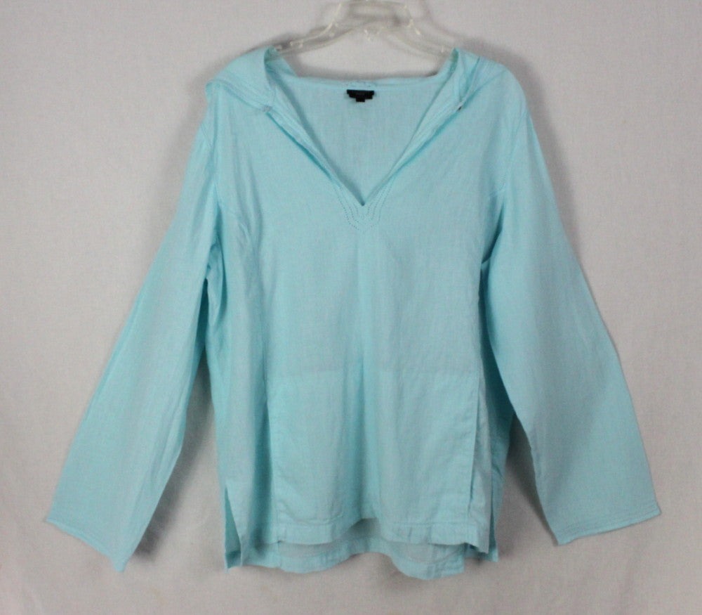a951d781 ... Cute Talbots Blouse XL size Light Blue Irish Linen Top Womens Hooded ...