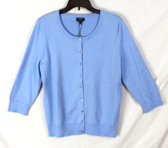 New Talbots Cardigan Sweater L size Light Blue Womens Cotton Work Casual