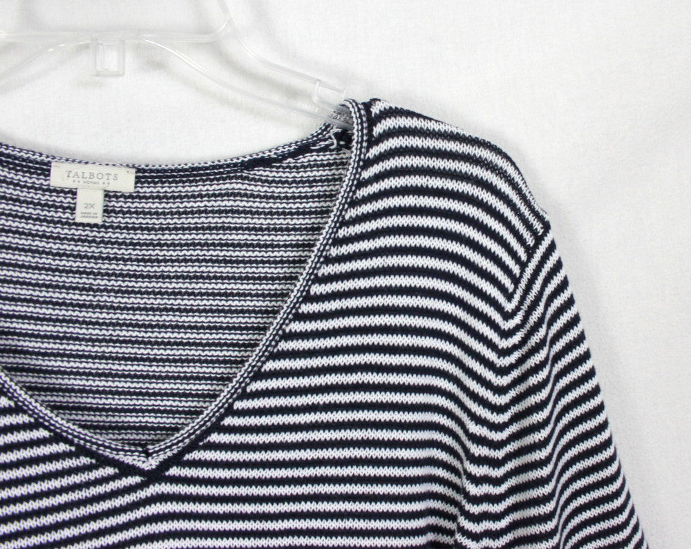 New Talbots Outlet Sweater 3x size Navy Blue Textured Front