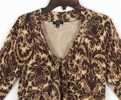 Talbots Blouse M size Brown Beige Tie Front Top Womens Career Casual