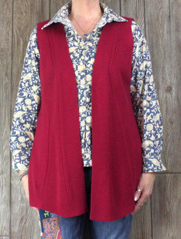 New Talbots Outlet Sweater Vest 1x size Cranberry Pink Red Womens Ribbed Open Front Plus