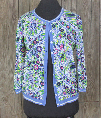 Cute Talbots Blue Pink Floral Cardigan Top M size Womens Work Casual Cotton Blend